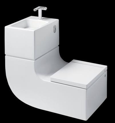 Εξοικονόμηση χώρου στο μπάνιο με νιπτήρα και λεκάνη μαζί